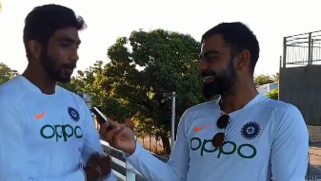 Ind vs WI: Virat Kohli interviewed Bumrah(BCCI Twitter)