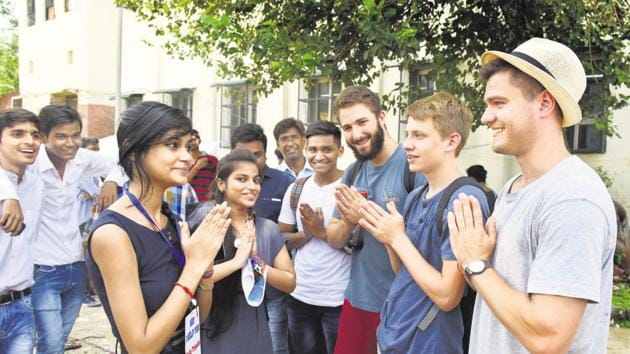 Foreign students at a Delhi college. Enhancing educational connectivity should be a key priority if India wishes to retain its role as the region's intellectual hub(Sushil Kumar/HT)