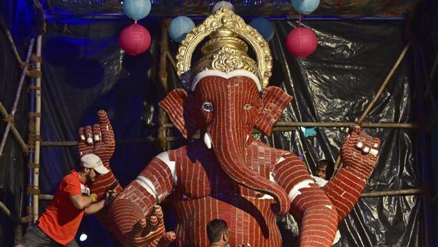 Mumbai Police is geared up for Ganesh Chaturthi. This is the time when we face the biggest challenge, police said.(Satyabrata Tripathy/HT Photo)
