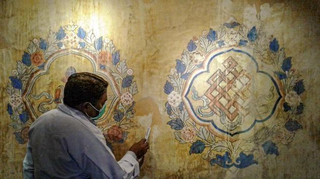 Restoration work underway on iconic Leh Palace.(PTI)
