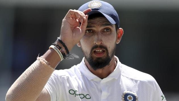 Ishant Sharma in action during the second Test match between India and West Indies.(AP)