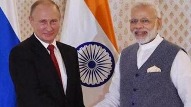 PM Modi will hold one-on-one and delegation-level talks with Russian President Putin after his arrival in Vladivostok on Wednesday.(PTI PHOTO.)