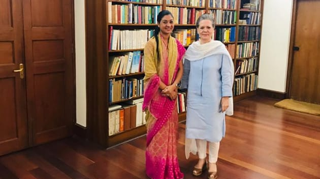Alka Lamba tweeted a picture of her with interim Congress president Sonia Gandhi after meeting the latter in Delhi on Sept 3, 2019. (Photo @LambaAlka)