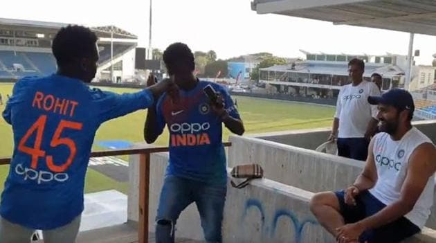 Rohit Sharma spends time with his fans at Sabina Park in Jamaica.(Twitter/BCCI)