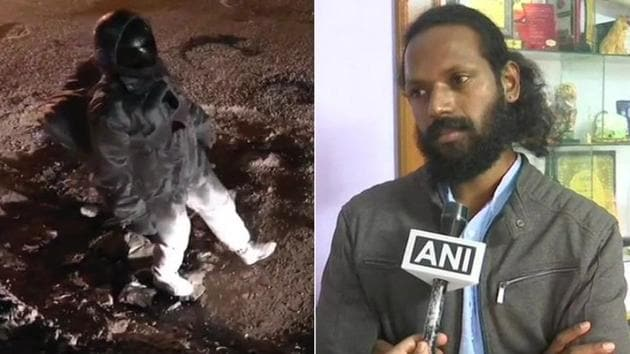 Artist Baadal Nanjundaswamy has taken up several similar campaigns in the past which also yielded positive results as the problems were resolved.(Twitter/ANI)