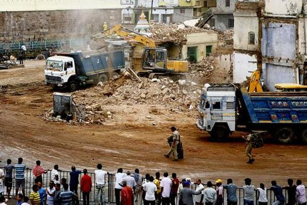 The ruling party jumped to defend Naveen Patnaik government's demolition drive around the Jagannath temple on Friday(ANI Photo)