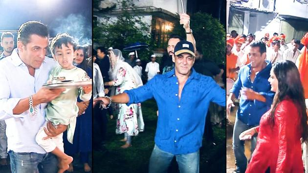 After celebrating Ganesh Chaturthi together on Monday, actor Salman Khan and his family gave a grand send off to Ganpati on Tuesday. In a new viral video, Salman can be seen dancing to beats of 'dhols' at the visarjan.Salman can be seen covering his ears from the loud music. Also seen dancing with him were actors Swara Bhasker and Daisy Shah. This year again, the festival was celebrated at the residence of Salman's sister, Arpita Khan Sharma.
