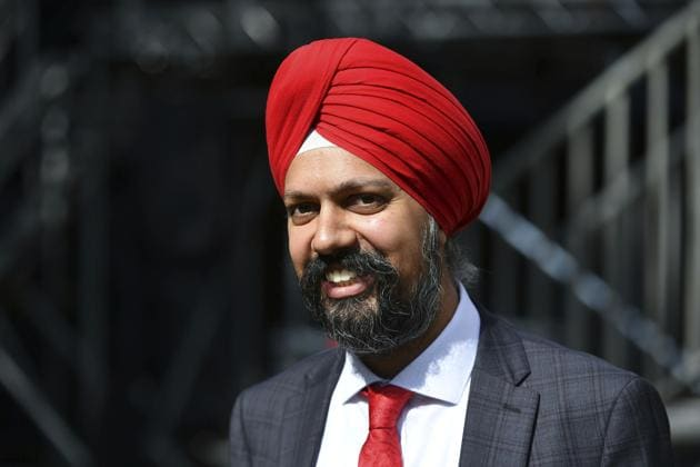 Tanmanjeet Singh Dhesi, Labour MP for Slough, speaks to the media outside the Houses of Parliament in London.(Photo: AP)
