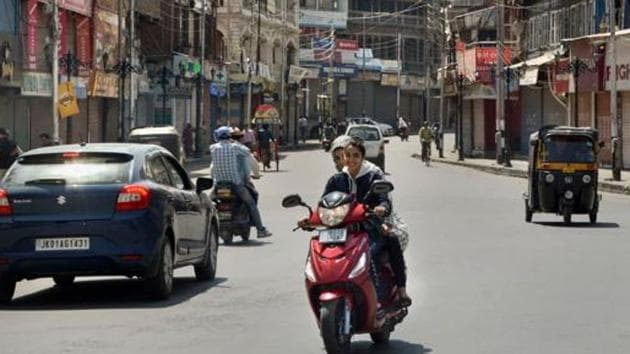Commuters seen on a road in Kashmir valley after abrogation of the provisions of Article of 370.(PTI photo ( Representational image))
