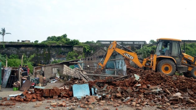 Old structures around the Jagannath Temple are being razed since August 27 after a committee headed by a retired judge of Orissa High Court BP Das recommended the removal of such buildings early this year.(PTI image)
