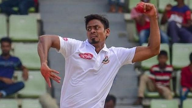 Taijul Islam in action during the Test match between Bangladesh and Afghanistan.(Twitter)