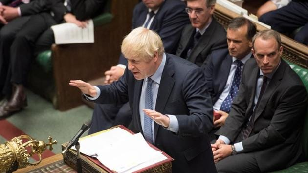 Britain's Prime Minister Boris Johnson speaks during Prime Minister's Questions session in the House of Commons in London, Britain September 4, 2019.(Handout via Reuters)