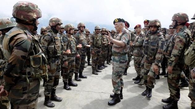 Chief of Army Staff, General Bipin Rawat visited troops on the Line of Control to review prevailing situation and operational readiness of the units of White Knight Corps. The army chief said he was offering a peaceful gesture towards the terrorists and appealed them to stop the bloodshed.(ANI Photo)