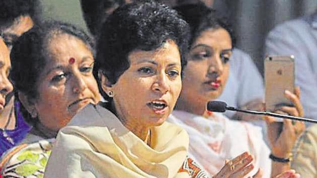 Kumari Selja, a former union minister and a prominent Dalit face of the Congress, is the first woman president of the grand old party in male-dominated Haryana.(HT file photo)