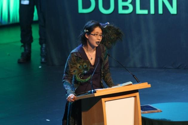 Jeannette Ng speaking after receiving the John W Campbell Award for Best New Writer(Xander Cosgrave)