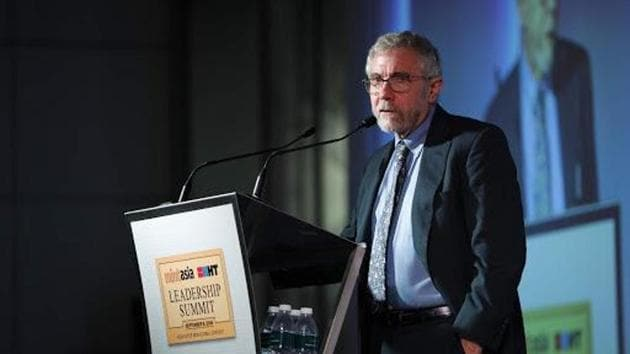 "HT-Mint Asia Leadership Summit: Economist Paul Krugman said the world's centre of gravity has shifted ""very dramatically"" in the past few decades from the G7 to Asia, adding that the US's share of the economy is diminishing.(HT Photos)"