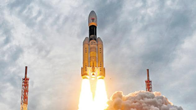 India's second Moon mission Chandrayaan-2 lifts off onboard GSLV Mk III-M1 launch vehicle from Satish Dhawan Space Center at Sriharikota in Andhra Pradesh. India will become the fourth country to have landed on the lunar surface if the lander of its moon mission Chandrayaan-2 lands successfully near its previously unexplored South Pole on Saturday.(PTI Photo)