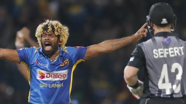 Sri Lanka's Lasith Malinga successfully appeals to dismiss New Zealand's Ross Taylor as his fourth wicket taken in four consecutive balls.(AP)