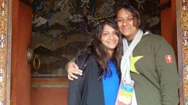 Ritu Goyal Harish (left) along with her daughter Oorja Gonepavaram.(HT PHOTO)