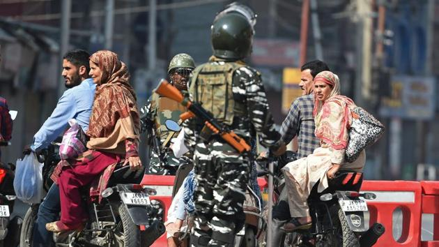 Paramilitary forces deployed in Lal Chowk area of Srinagar on the 8th day of Muharram on September 8, 2019.(AFP)