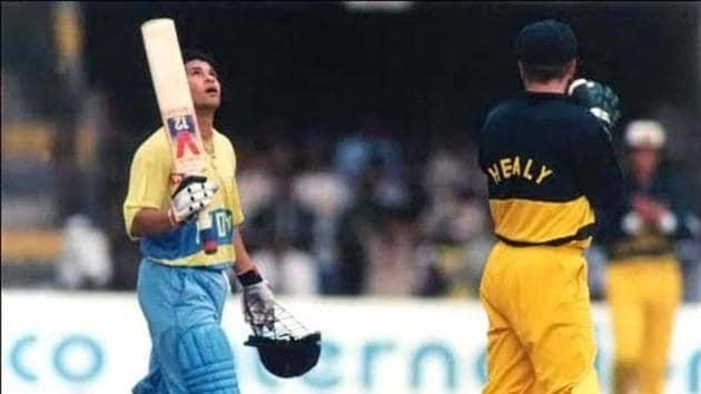 File image of Sachin Tendulkar celebrating his first ODI hundred.(PTI)