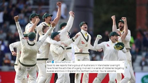 Australia celebrate after winning the 4th Test.(Reuters)