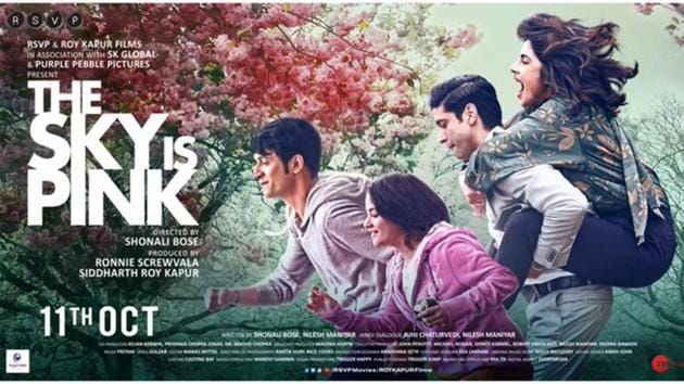 The Sky Is Pink poster: Priyanka Chopra, Farhan Akhtar, Zaira Wasim and Rohit Saraf will be seen together at TIFF for the film's premiere.