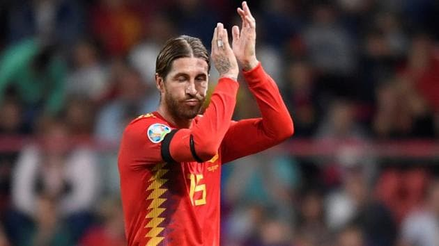Spain's Sergio Ramos applauds fans as he is substituted.(REUTERS)