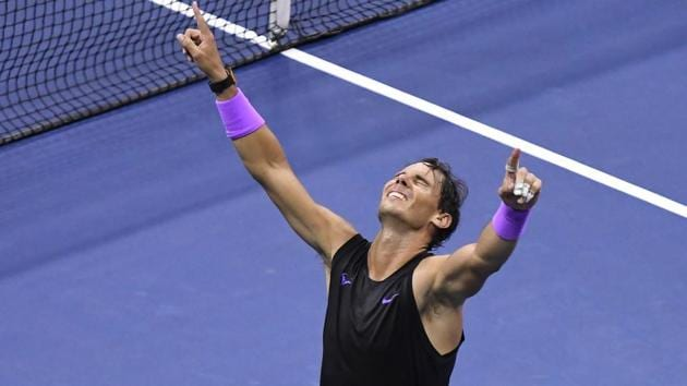 Rafael Nadal of Spain celebrates match point against Daniil Medvedev of Russia in the men's singles final on day fourteen of the 2019 US Open tennis tournament at USTA Billie Jean King National Tennis Center.(USA TODAY Sports)
