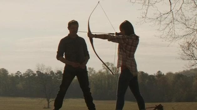 Jeremy Renner as Hawkeye, training his daughter in a still from Avengers: Endgame.