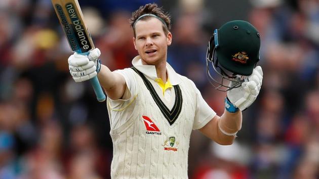 Australia's Steve Smith celebrates his century.(Action Images via Reuters)