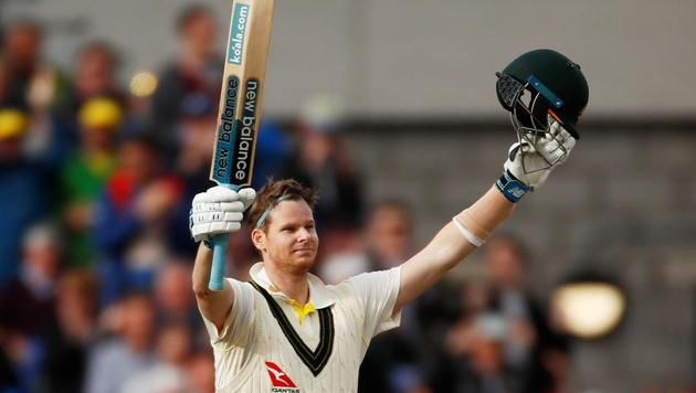 Australia's Steve Smith celebrates reaching 200 runs.(Action Images via Reuters)