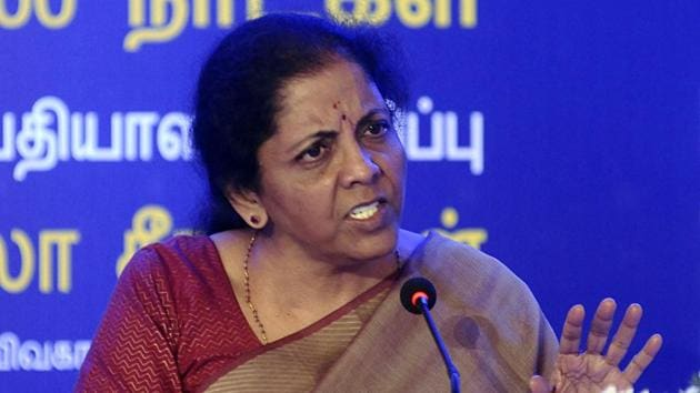 Finance Minister Nirmala Sitharaman speaks during a press conference on Furthering India's Development 100 Days of Bold Initiatives Decisive Actions of the Government of India, in Chennai on Tuesday.