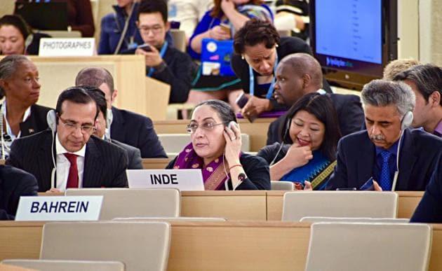 Secretary (East) MEA, Vijay Thakur Singh (C) at the UNHRC in Geneva on Tuesday. (ANI Photo)
