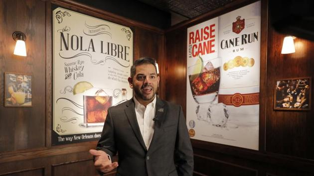 Miguel Solorzano, Sazerac House general manager, gives an introduction during a media preview for the Sazerac house, in New Orleans. (AP Photo/Gerald Herbert)(AP)