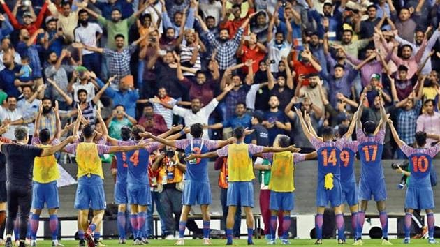 India players acknowledge their fans who struggled to get into the stadium despite having tickets as complaints of mismanagement poured in after the match at Jassim Bin Hamad Stadium, Doha.(Reuters)