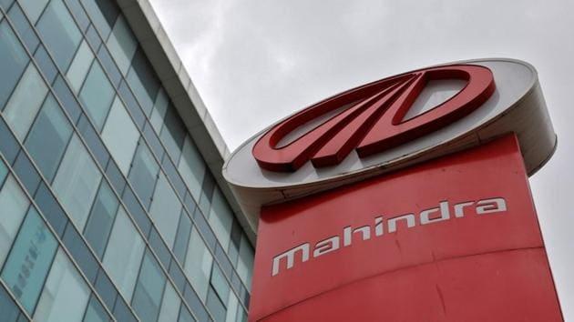 The logo of Mahindra and Mahindra is seen at a showroom in Mumbai.