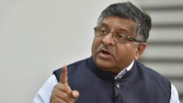 Ravi Shankar Prasad said that if a BJP government had illustrated the Constitution with Hindu iconography, there would have been a hue and cry, but it was not found amiss in 1950.(Sanjeev Verma/HT PHOTO)