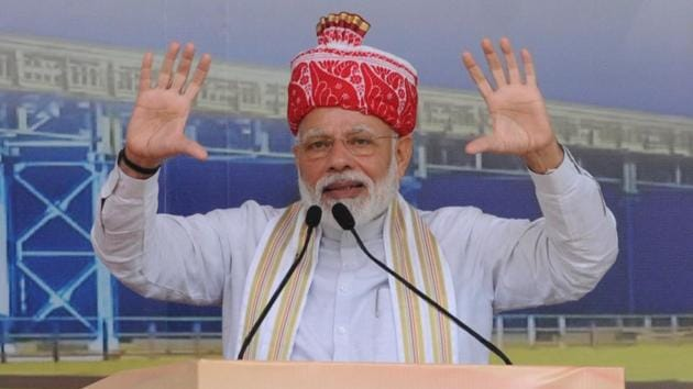 PM Narendra Modi said, at a public meeting in Jharkhand, said that the focus of his government is development for all and fight against corruption.(Diwakar Prasad/ Hindustan Times)