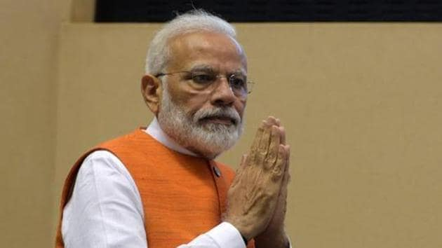 On account of Hindi Diwas, Prime Minister Narendra Modi greeted the nation on Saturday(Mohd Zakir/HT PHOTO)