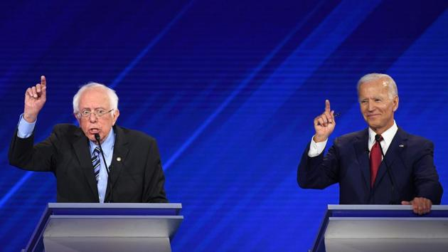 Democratic presidential hopefuls Senator of Vermont Bernie Sanders (R) and Former Vice President Joe Biden (R) participate during the third Democratic primary debate of the 2020 presidential campaign season hosted by ABC News in partnership with Univision at Texas Southern University in Houston.(AFP)