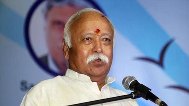 The ways to open units in gram panchayats where they have no presence was discussed during RSS chief Mohan Bhagwat's three-day tour of Bengal.(HT Photo)