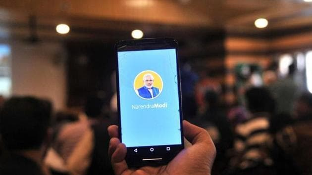PM Modi 69th birthday: The NaMo App will showcase a multimedia version of Narendra Modi's political journey and mirroring exhibitions being organised by BJP across the country.(HT File Photo)
