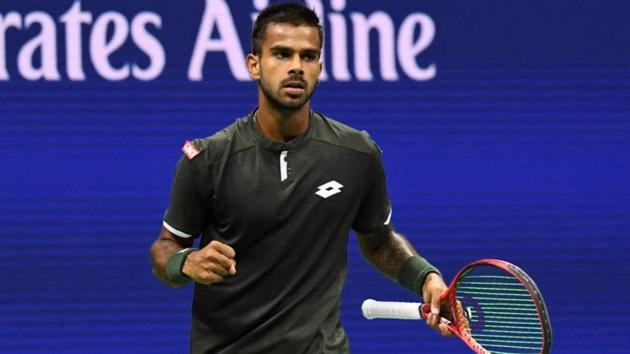 Sumit Nagal of India wins the first set against Roger Federer of Switzerland.(USA Today Sports)