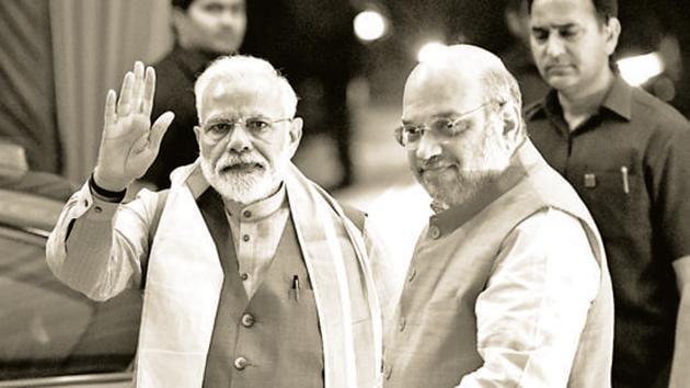 Prime Minister Narendra Modi seen and BJP National President Amit Shah(Vipin Kumar / Hindustan Times.)