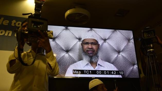 Controversial Islamic preacher and the founder of Islamic Research Foundation, Zakir Naik, addresses the media through video calling service Skype from Madina.(Vijayanand Gupta/ HT file photo)