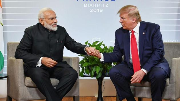 Prime Minister Narendra Modi with US President Donald Trump during a bilateral meeting in the sidelines of G-7 summit in Biarritz, France in August.(PM Office)