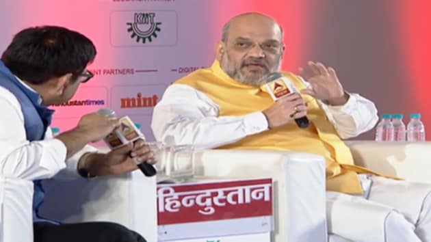 At 'Purvoday Hindustan', an event organised by HT media group's Hindi daily Hindustan in Ranchi, Shah reiterated the need for the NRC to detect illegal aliens in the country. (HT Photo)