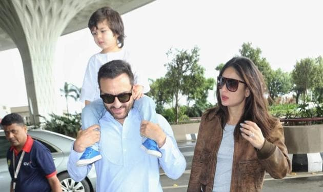 Saif Ali Khan carries son Taimur on his shoulders as they leave for Pataudi to