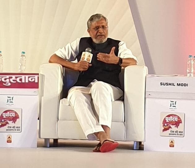 Sushil Modi was speaking at Hindustan Purvoday summit in Ranchi, Jharkhand on September 18, Wednesday(HT Photo)